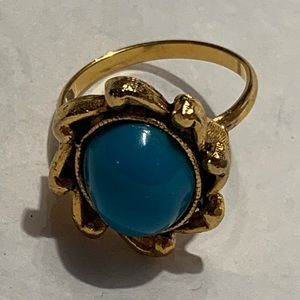 Blue Stone Ocean Waves Gold Tone Ring Boho Size 7